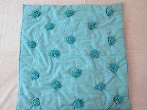 Euro Sham, POM POM Teal Cotton Quilted Pillow Cover, Pottery Barn Single Shams