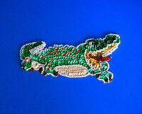 Vintage Christmas Alligator Sequin & Bead Applique Red & Green Mouth Open