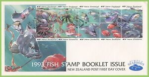 New-Zealand-1993-Fish-Stamps-Boklet-pane-First-Day-Cover