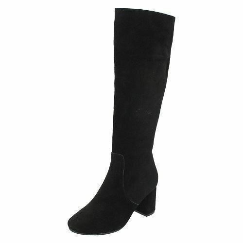 LADIES LEATHER COLLECTION BLACK SUEDE KNEE HIGH Stiefel STYLE - F50536