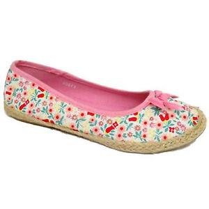 Chicas Crema De Tela Rosa Bailarina Flat Alpargatas Slip On Bombas zapatos del Reino Unido Kid 8-5