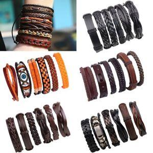 Fashion-Punk-Men-039-s-Handmade-Leather-Bracelets-Set-Braided-Bangle-Wristband-Gift