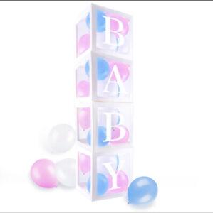 Transparent Boîtes baby shower and Gender Reveal Fête Décoration