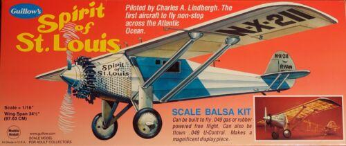 Guillow's Spirit of St Louis 34 .049 Gas, U-Control, Rubber Powered Free Flight