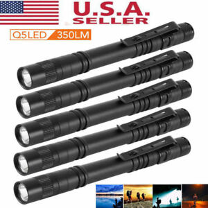 5PCS Cree-XPE-R3 LED Flashlight Clip Mini Light Penlight Portable Pen Torch Lamp
