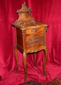 Antique-Louis-XV-Marble-Top-Walnut-Bedside-Cabinet-w-Commode-Compartment