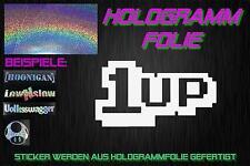 1 Up Schrift Hologramm Holo JDM Sticker Aufkleber DOMO Chrom Silber Rainbow