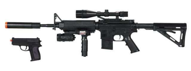 Uk Arms Tactical M4 Spring Powered M4 Combat Rifle And Side Arm Airsoft Kit For Sale Online Ebay