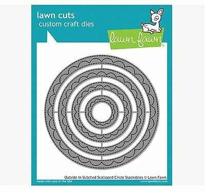 Dies Lawn Fawn Cuts Outside In Stitched Scalloped Rectangles LF1505