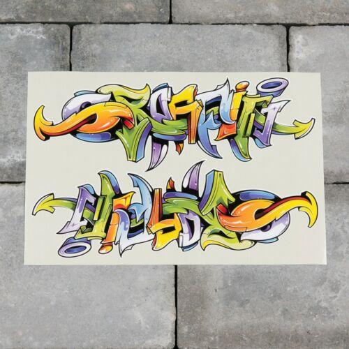 2 x Graffiti Word Vinyl Sticker Decal Car Van Bike 207mm x 73mm SKU6570