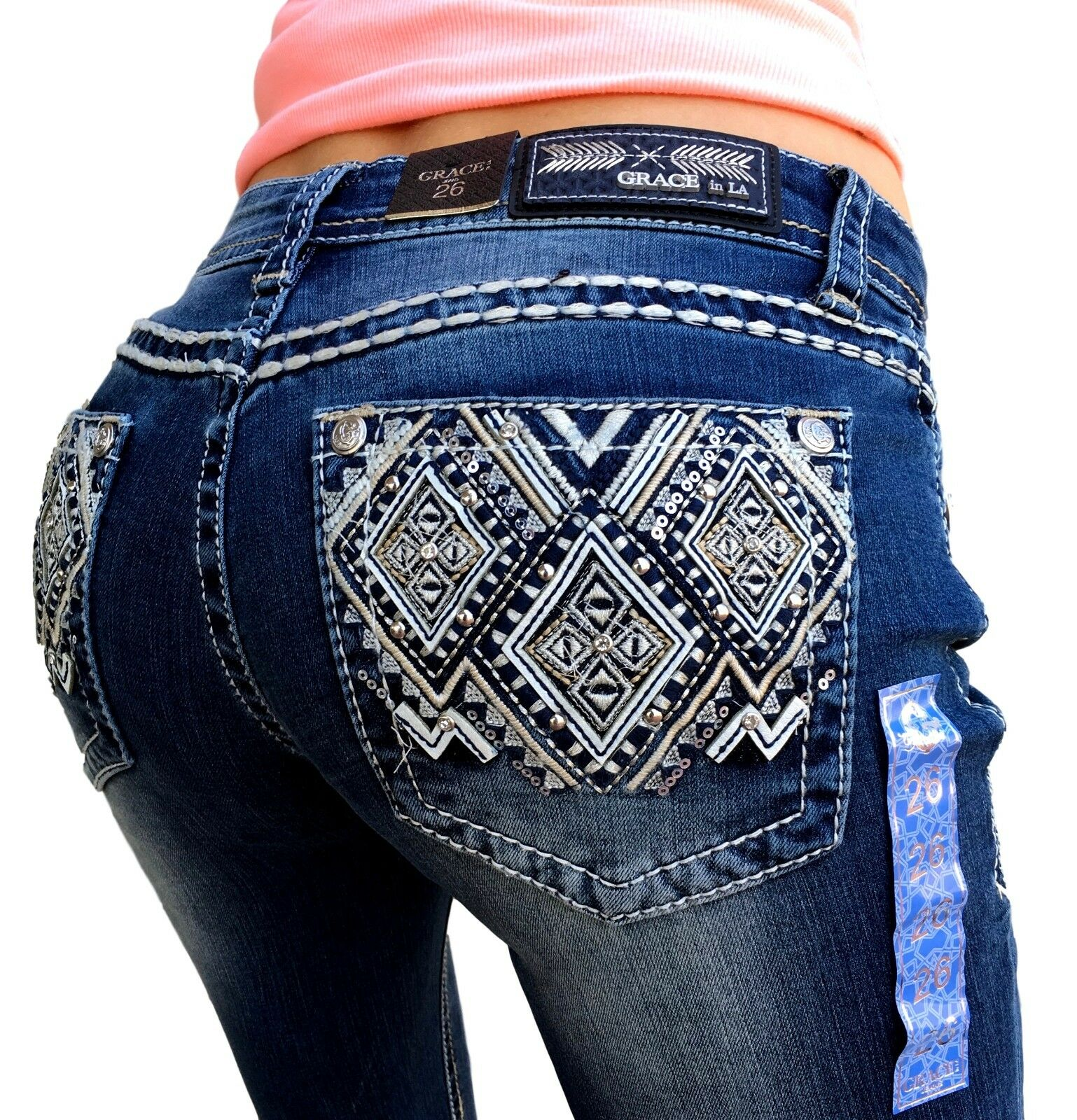 NWT Grace In LA Jeans Mid Rise Easy Bootcut Diamonds Stretch 28 29 30 31 32 33