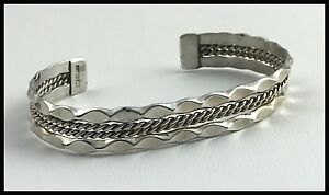 VINTAGE-925-Sterling-Silver-Decorative-Rope-amp-Scallop-Cuff-Bracelet
