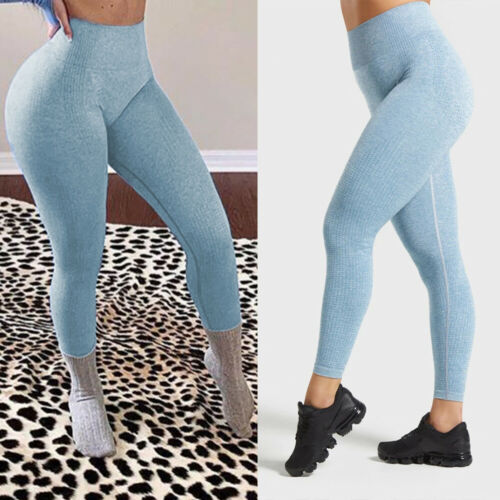 Women Seamless Yoga Pants Leggings High Waist Athletic Workout Stretch Trousers