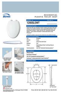 Bemis 1200SLOWT 044 Lift-Off Plastic Elongated Slow-Close Toilet Seat one-size Cerulean Blue