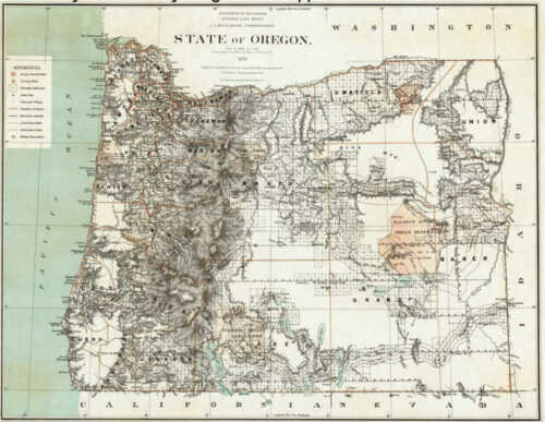 1879 Oregon Map Or Agate Cannon Beach Salem Saint Helens Burlington History HUGE