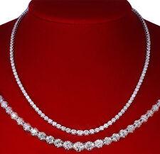 7.00 CT DIAMOND PENDANT 14K WHITE SOLID GOLD GRADUATED TENNIS NECKLACE