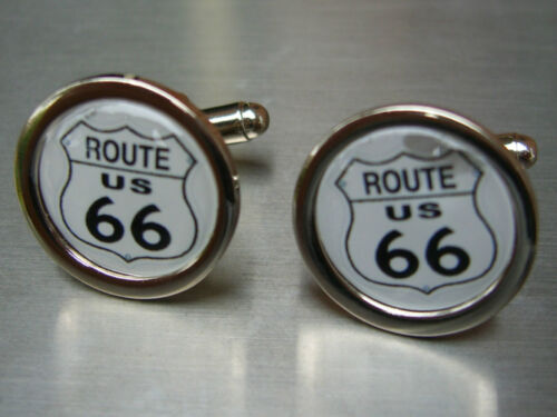 AMERICAN ROUTE 66 SIGN NEW CHROME FINISH CUFFLINKS