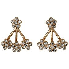 Pilgrim Jewellery Rose Gold flowers crystals ear jacket 2in1 cluster, gift bag