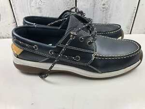 Sebago-Helmsman-Men-Boat-Shoe-Navy-Leather-Upper-Rubber-Sole-Pre-Own-USA