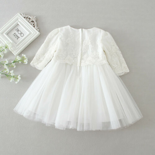 Ivory Baptism Dress Floral Lace Embroidery Dress New Born Baby Christening Gown