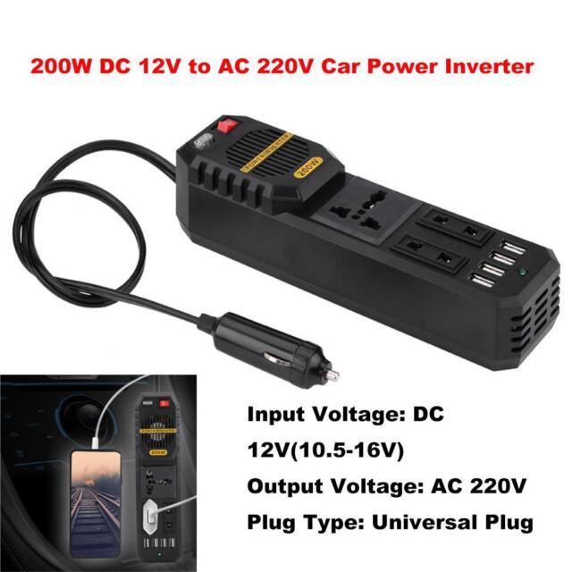 200W DC12V to AC 220V Car Power Inverter Cigarette Lighter USB Charger Universal