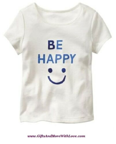Baby Gap NWT Off White BE HAPPY SMILE GLITTER DRESS TOP TEE KNIT SHIRT 12 18 24