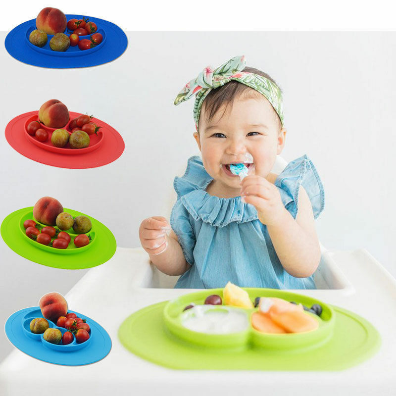 One-Piece Silicone Placemat Food Plate Mat Baby Toddler Child Kids Divided Bowl 8