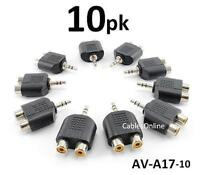 10-pack 3.5mm Stereo Male To 2-rca Female Audio Adapter, Cablesonline Av-a17-10