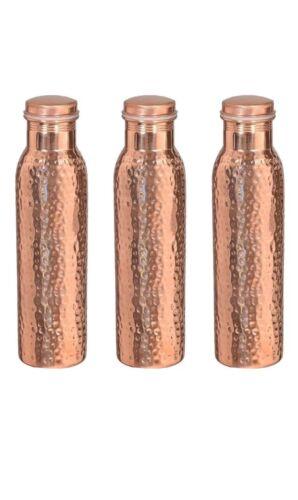 3x Étanche prestations de santé Vendeur Britannique 1 LTR Pure Cuivre Martelé bouteille d/'eau