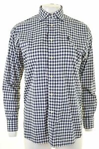 POLO-RALPH-LAUREN-Womens-Shirt-Size-6-XS-Blue-Check-Cotton-Boyfriend-Fit-JA04