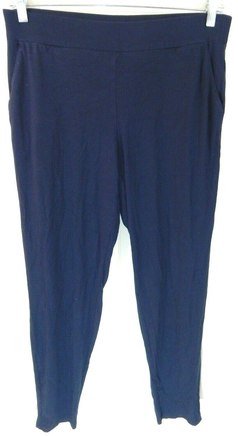 Eileen Fisher Womens Small Lounge Pants Navy Skinny Lightweight Knit Pull On EUC