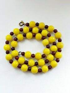 Vintage Art Deco Yellow Brown Glass Spacers Beaded Necklace