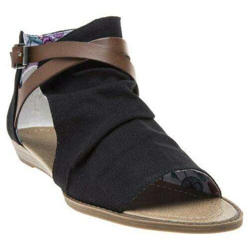 New Womens Blowfish Black Bess Textile Sandals Gladiators Buckle Zip