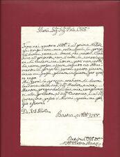 Lettera Prefilatelica Manoscritto Bastia Umbra Pietro Manzi 1788 Bella Grafia
