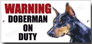 Plaque en aluminium Attention au chien Dobermann