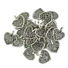 50Pcs Tibetan Silver Filigree Heart Charms Pendants DIY Jewelry Making Bulk