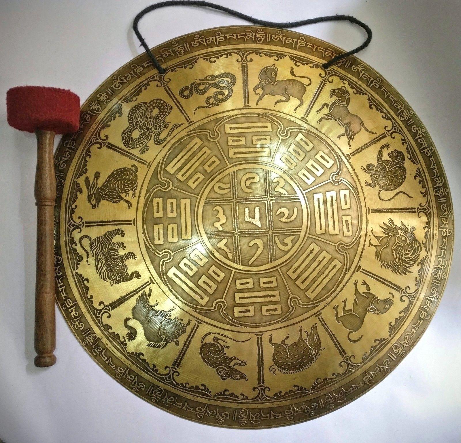 Tibetisch Tempel Gong 52 cm Tibetisch Kalender Handgefertigt