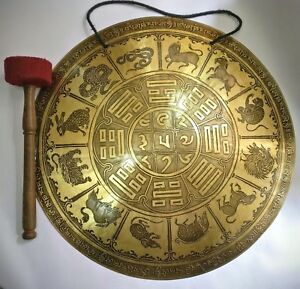 Calendario Tibetano.Dettagli Su Tibetano Stanghetta Gong 52 Cm Tibetano Calendario Fatto A Mano