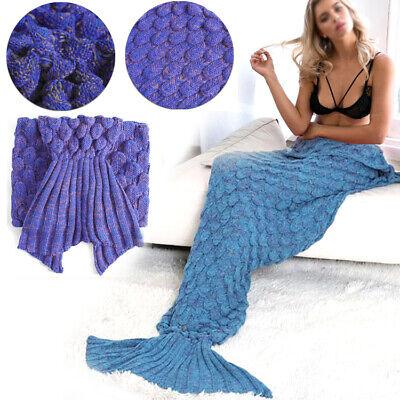 Handmade Mermaid Tail Blanket Crocheted Cocoon Sofa Beach Quilt Rug Knit Lapghan