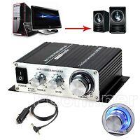 Hi-fi Stereo Digital Music Audio Speaker AC Amplifier AMP + 12V Car Charger
