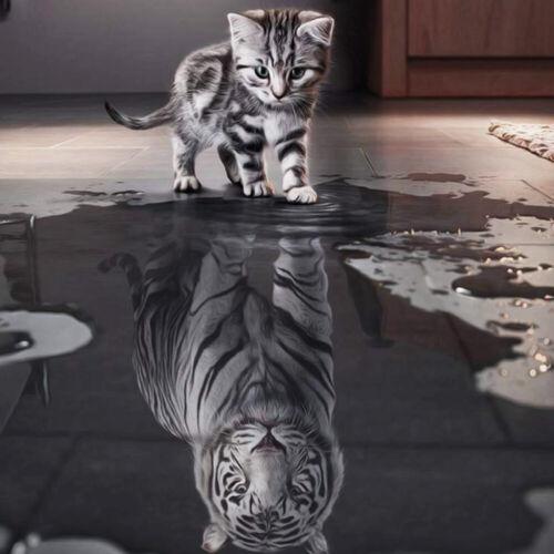 Handicraft Cat Reflection Tiger 5D DIY Diamond Embroidery Painting Cross Stitch