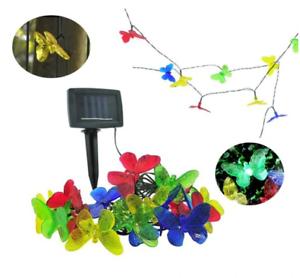 Solar Gartengirlande Lichterkette 10xLED farbige Schmetterlinge IP44 6m Party