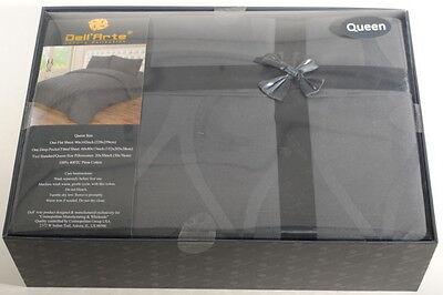Queen 800TC Gray Bedding Set Sheets 4PC Pima Cotton Dell/'Arte Luxury G3B