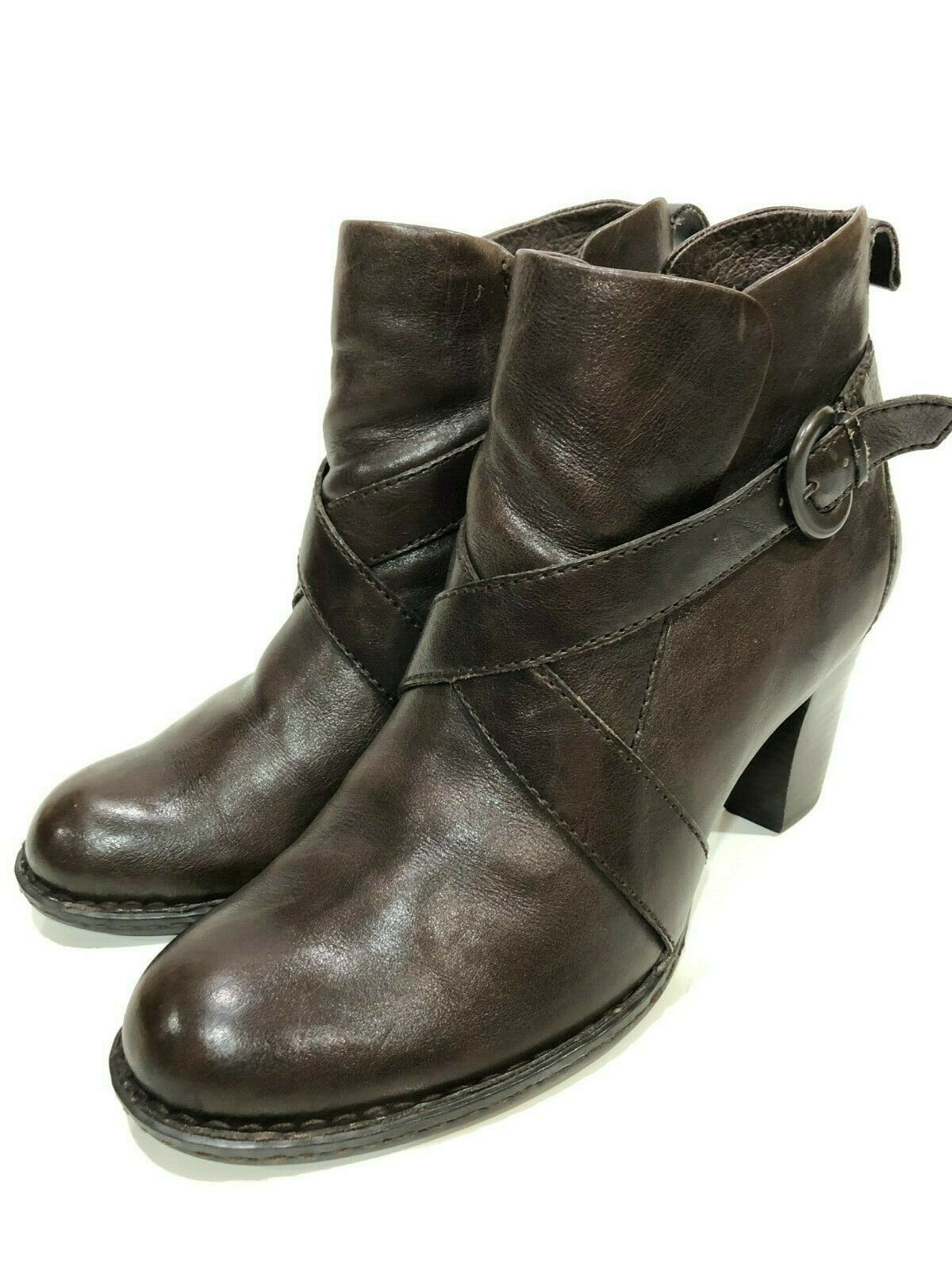 Born Women's Brown Leather Zip Boots Size 9.5 M