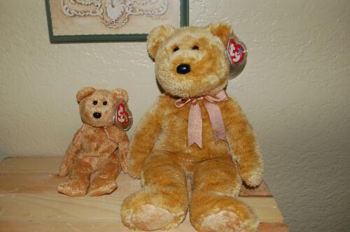 "MWMT 13/"" Ty  Beanie BUDDY  /& 8/"" Beanie Baby CASHEW the Golden Brown BEAR"