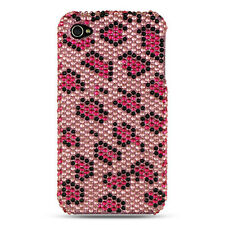 For Apple iPhone 4 4G Crystal Diamond Bling Hard Case Back Cover Pink Leopard
