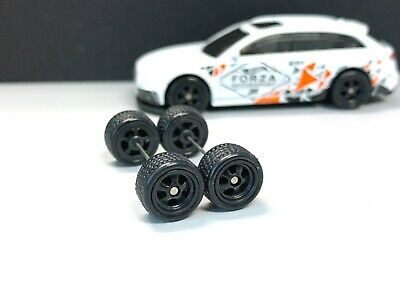 Long JDM RUBBER TIRE REAL RIDER R155 Hot Wheels 1//64 Set/> 5 spoke Black 10mm