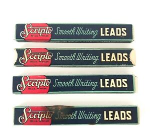 4-Vintage-Scripto-Smooth-Writing-Small-Pencil-Lead-Boxes-With-Blue-Lead