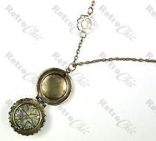 ROUND LOCKET filigree NECKLACE vintage brass long chain DAISY FLOWER pearl heart