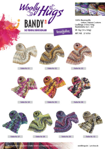 100 g Woolly Hug´s BANDY Color 100g das trendyge Bändchengarn EUR 9,90